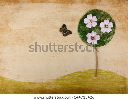 Scrapbook landscape w flower tree and butterfly cute background - stock photo