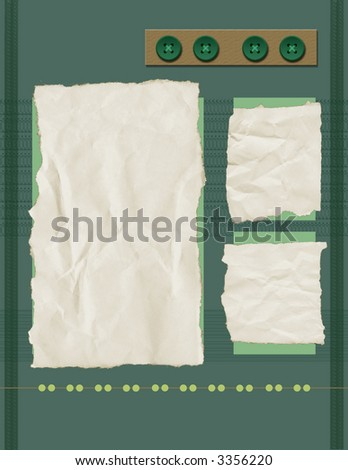 Scrapbook Page Background - Green Lace Page - stock photo
