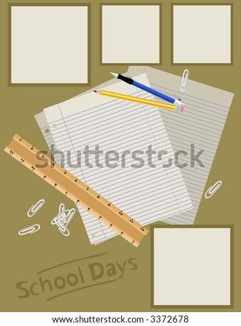 Scrapbook Page Layout - School Days - stock photo