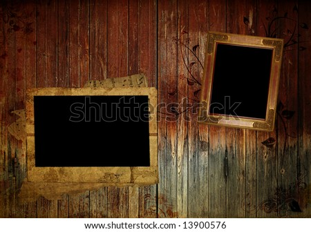 scrapbook page on the wood background - stock photo