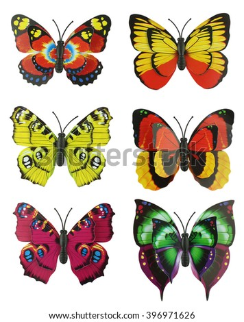 Scrapbook set of six multicolored bright artificial butterflies isolated on a white background