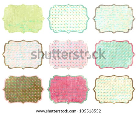 Scrapbook Vintage Tag Set - stock photo
