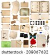 scrapbooking elements. vintage photo album and book pages, paper sheets, cards, corner and frames isolated on white background - stock photo