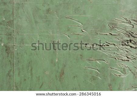 Scratch Green Plastic Garbage Bin Texture - stock photo