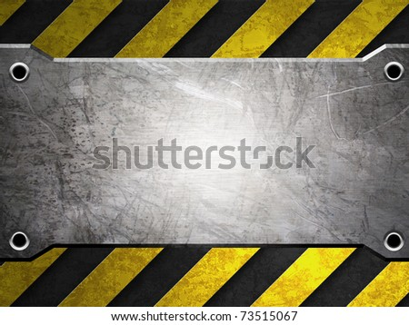 scratch metal plate with warning stripe