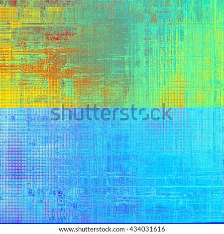 Scratched background with retro style overlay. Aged texture with different color patterns: yellow (beige); green; blue; red (orange); cyan - stock photo