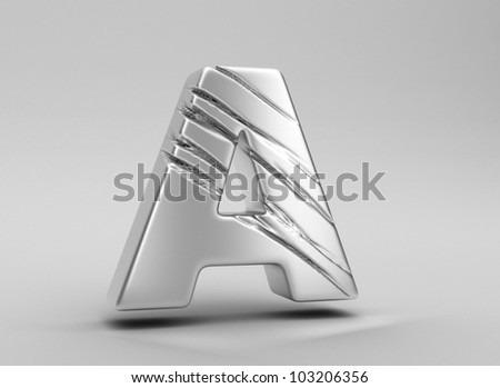 scratched glossy metal 3d letter a WITH ALPHA CHANNEL - stock photo