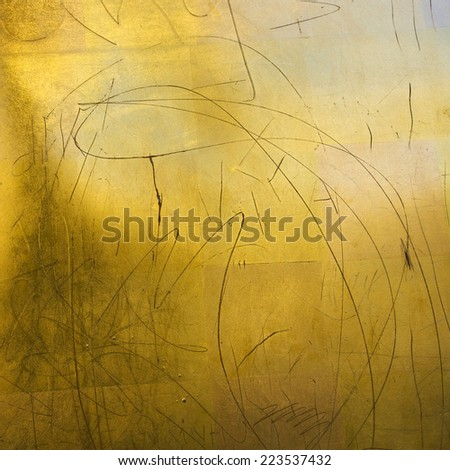 scratched gold background - stock photo