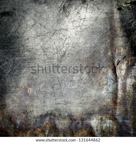 scratched grunge metal background - stock photo