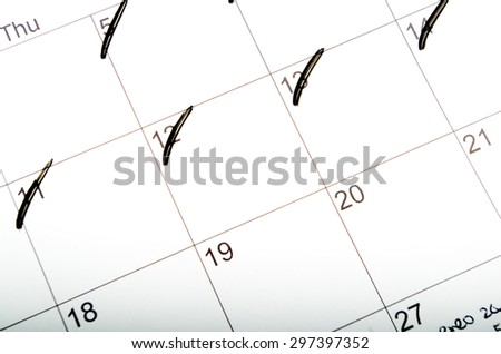 scratched Marks on the calendar days - stock photo