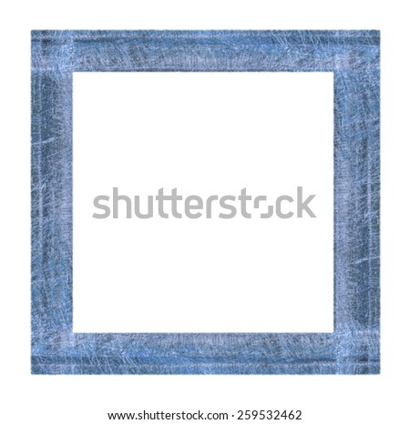 scratched  painted blue wooden frame isolated on white background