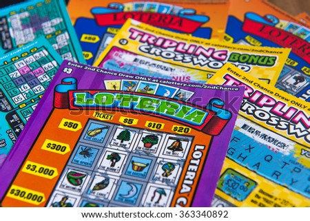 Scratcher game, lottery game of California, January 12 2016