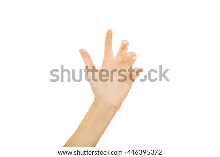 Scratching woman hand with five fingers