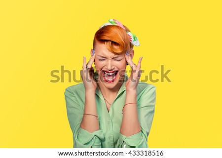 Scream stress. Closeup portrait angry woman screaming wide open mouth hysterical isolated yellow background. Negative human emotion face expression Conflict confrontation concept Too many things to do - stock photo