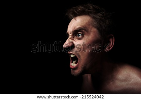 screaming aggressive man - stock photo