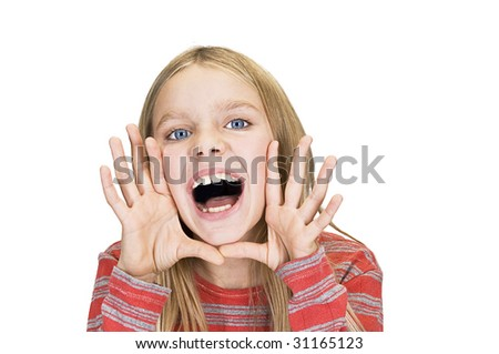screaming and smiling young girl - stock photo