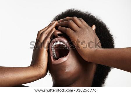 screaming black woman - stock photo
