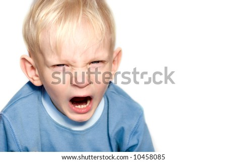 Screaming boy with blond hair isolated on white - stock photo