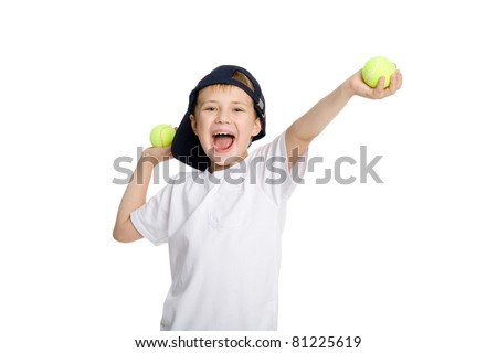 Screaming boy with tennis balls. Isolated on white. - stock photo