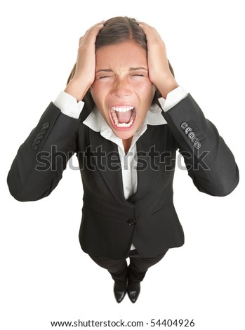 Screaming businesswoman in suit isolated on white background. - stock photo
