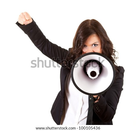 screaming businesswoman with megaphone and raised fist, white background