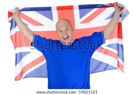 Screaming football fan. Isolated on white background - stock photo