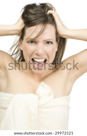 Screaming girl in white towel