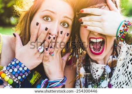 Screaming Girls, festival people - stock photo