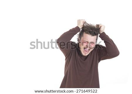 screaming guy - stock photo