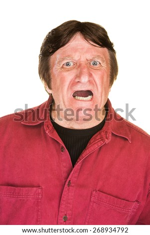 Screaming middle aged male over white background