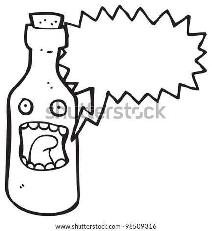 screaming wine bottle cartoon - stock photo