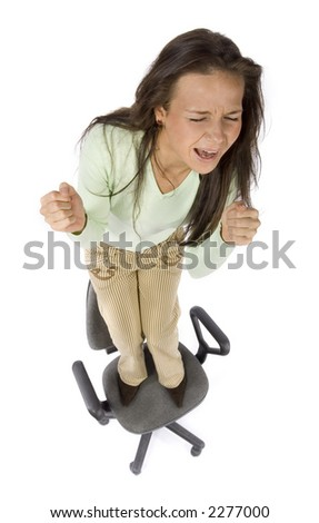 screaming woman standing on the office chair - white background, headshot - stock photo