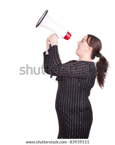 screaming young overweight, fat woman with megaphone - stock photo