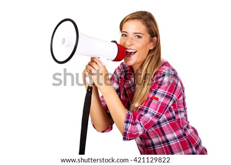 Screaming young woman holding megaphone - stock photo