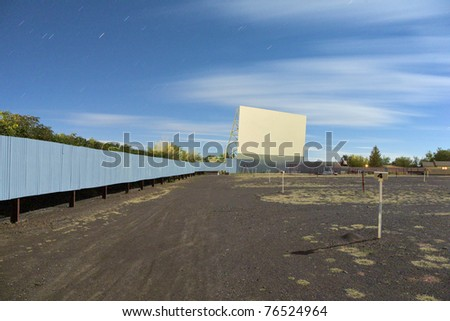 Screen at the 'Star Drive In'  movie theater in Monte Vista, Colorado at night. - stock photo