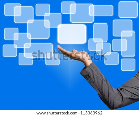 Screen Button Interface on Business hand - stock photo