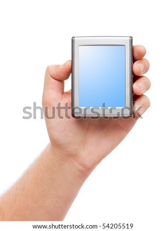 Screen in hand isolated on white background - stock photo
