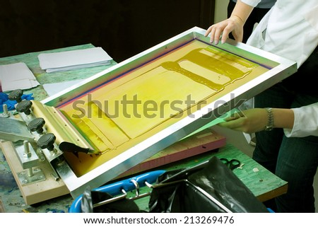 Screen Print With Yellow Ink - stock photo