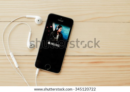 Screen shot of Apple music application showing on iPhone 5s. Apple Music is the new iTunes-based music streaming service that arrived on iPhone.CHIANG MAI,THAILAND - NOVEMBER 29,2015 - stock photo