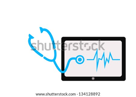 Screen tablet and stethoscope - stock photo