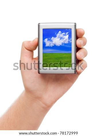 Screen with landscape in hand isolated on white background