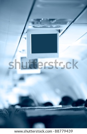 screens inside of an aircraft - stock photo
