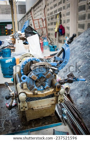 screw cutting lathe - stock photo
