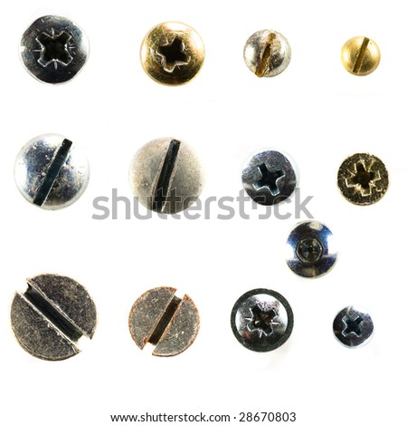screw heads collection - stock photo