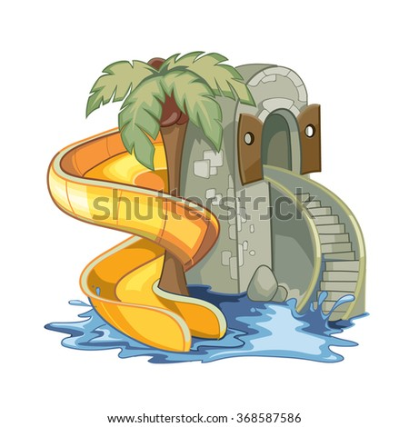 screw yellow Water hill in an aquapark. illustration