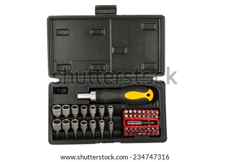 Screwdriver and set of nozzles for her - stock photo