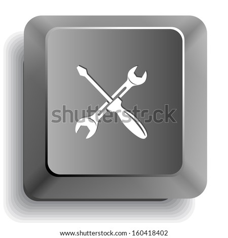 Screwdriver and spanner. Raster computer key. - stock photo