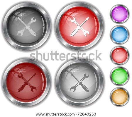 Screwdriver and spanner. Raster internet buttons. Vector version is in portfolio. - stock photo