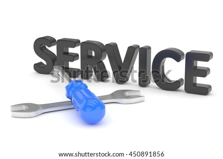 screwdriver and wrench tools on white background. service concept. 3D Rendering. - stock photo