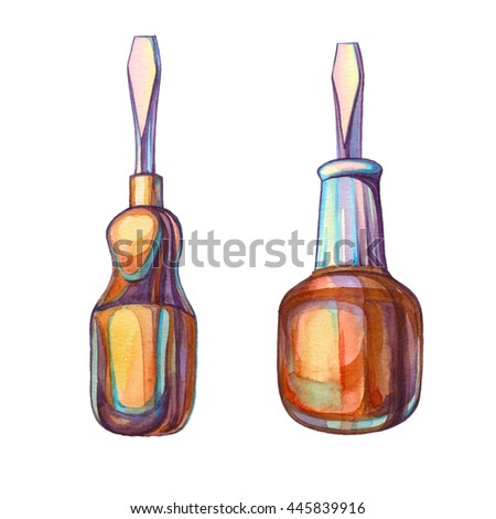Screwdriver isolated on white background. Colorful watercolor illustration for your design. Building tools. House remodel tools. - stock photo